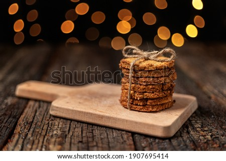 健康 オーガニック 燕麦 クッキー チョコレート 木板 ストックフォト © DenisMArt