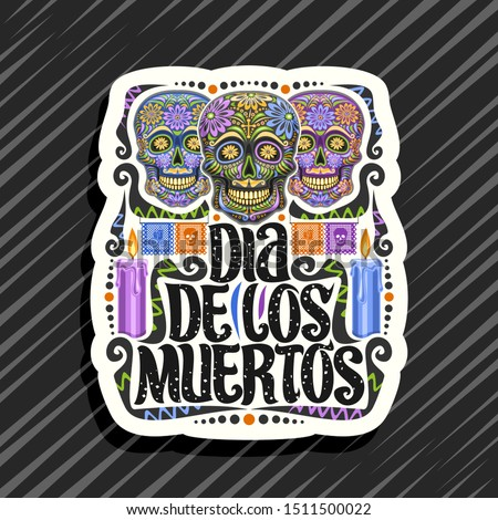 Words DIA DE LOS MUERTOS. Day of the Dead in Spanish. Vector decorative zentangle object Stock photo © Natalia_1947