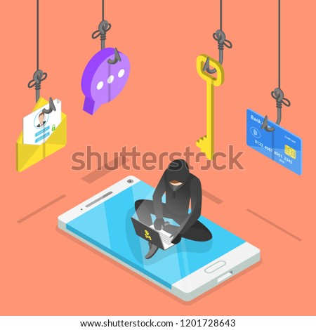 flat isometric vector concept of phishing computer virus hacking stock photo © tarikvision