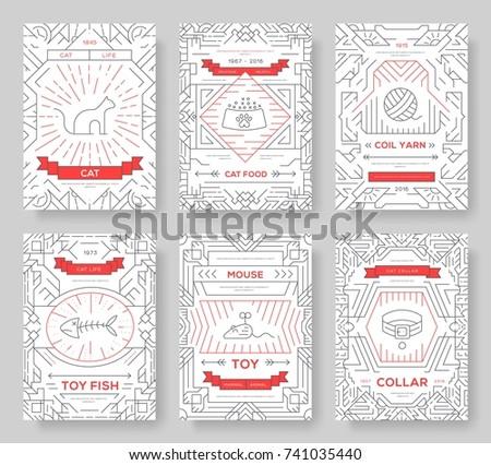 Zwierząt cienki line broszura karty zestaw Zdjęcia stock © Linetale