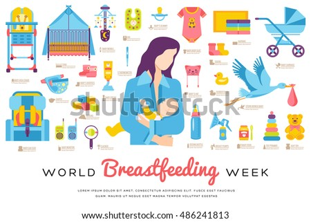World breastfeeding week and kids elements flat icon set concept. Child illustrations design Stock photo © Linetale