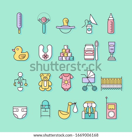World thin line breastfeeding week and kids elements flat icon set concept. Child outline illustrati Stock photo © Linetale