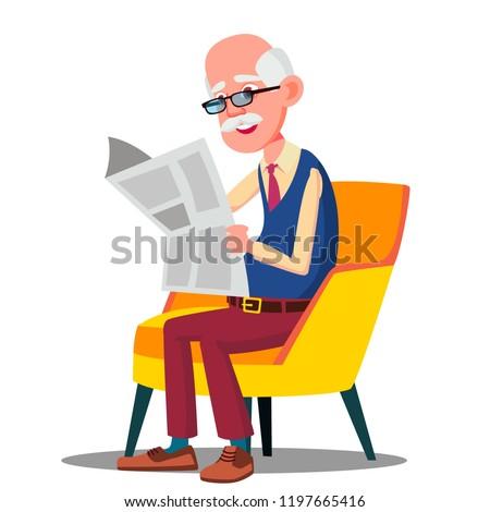 Senior idade homem óculos leitura jornal Foto stock © pikepicture