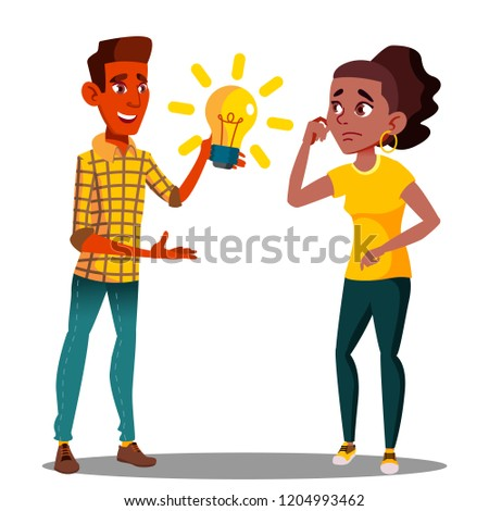 Submit An Idea, One Student Pulls A Glowing Light Bulb To Another Student Vector. Isolated Illustrat Stock photo © pikepicture