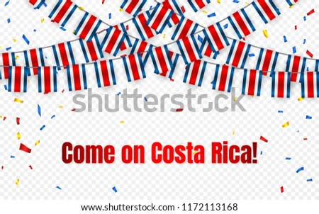 Costa Rica garland flag with confetti on transparent background, Hang bunting for celebration templa Stock photo © olehsvetiukha