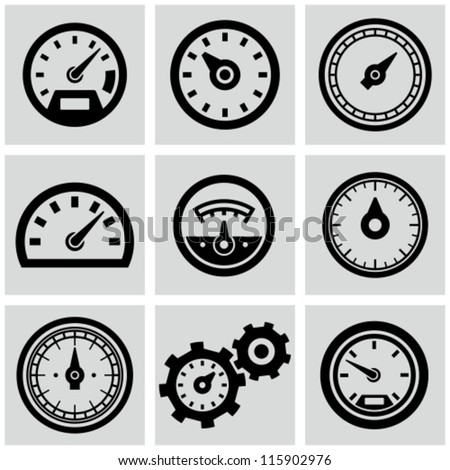 Meter icons set. Speedometer display, power interface, gauge with arrow to measure speed of a vehicl Stock photo © kyryloff