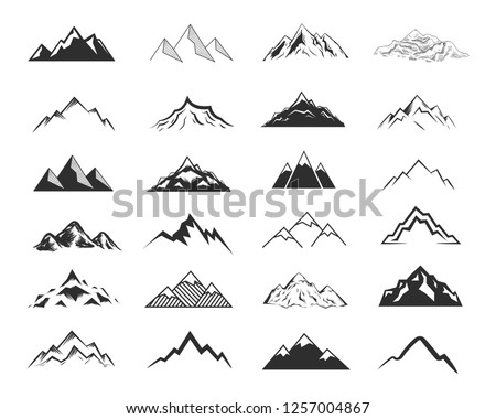 vintage hand drawn adventure symbols hiking camping shapes of backpack wild animals canoe surf stock photo © jeksongraphics