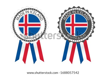 Stock photo: Modern vector Made in Iceland label isolated on white background, simple sticker with Icelandic colo