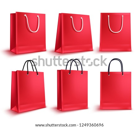 Realistic red Paper shopping bag with handles isolated on white background. Vector illustration Stock photo © olehsvetiukha
