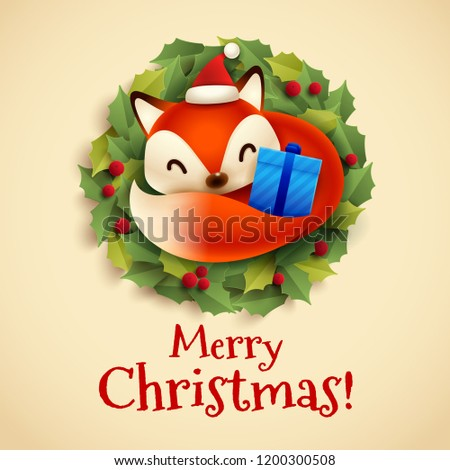 Noël carte de vœux cute peu Fox recroquevillé Photo stock © ori-artiste