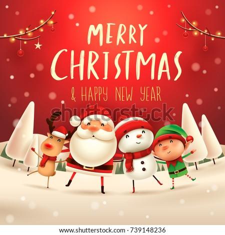 Stock fotó: Vidám · karácsony · boldog · mikulás · rénszarvas · manó