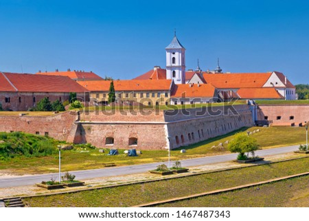 tvrdja old town walls and drava river walkway in osijek panorami stock photo © xbrchx
