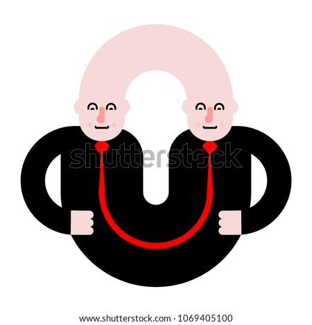 Business partners. Siamese twins. Fused people. Vector illustrat Stock photo © MaryValery