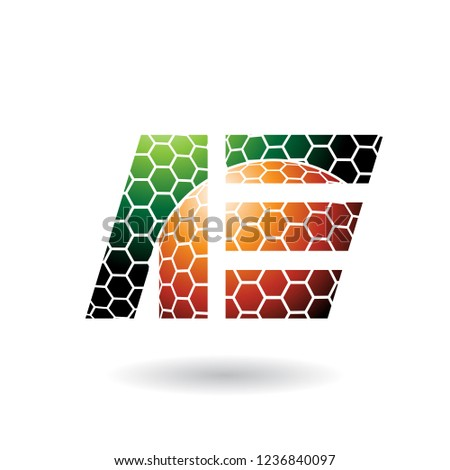 Zielone pomarańczowy list plaster miodu wzór wektora Zdjęcia stock © cidepix