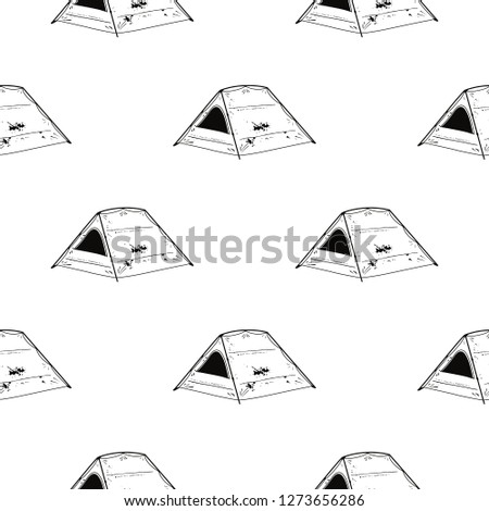 Line art Tent seamless pattern. Silhouette distressed style. Outdoor adventure wallpaper background. Stock photo © JeksonGraphics