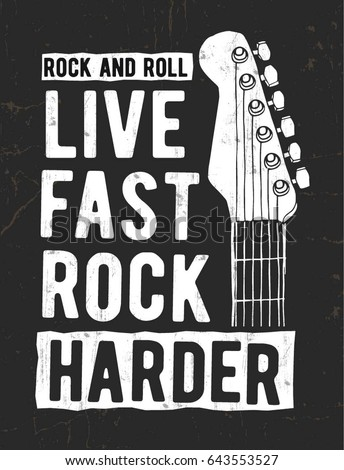 Rock n roll poster. Music t shirt print design. Musical tee graphics box with hand sign and typograp Stock photo © JeksonGraphics