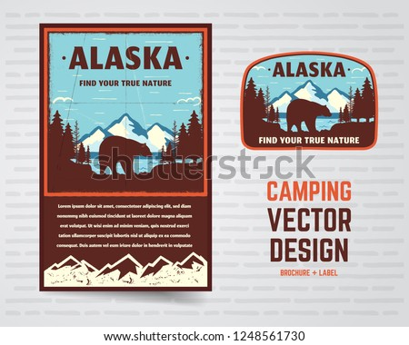 USA poster badge Alaska bergen beer Stockfoto © JeksonGraphics