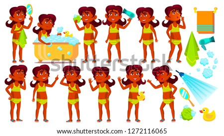 Indian Girl Kid Poses Set Vector. Hindu. Child Take A Shower. Positive. For Advertising, Placard, Pr Stock photo © pikepicture