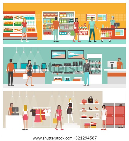 Shopping Mall Supermarket Vector. Shopping Bags, Interior, Products. Seasonal Sale At Store. Cashbox Stock photo © pikepicture