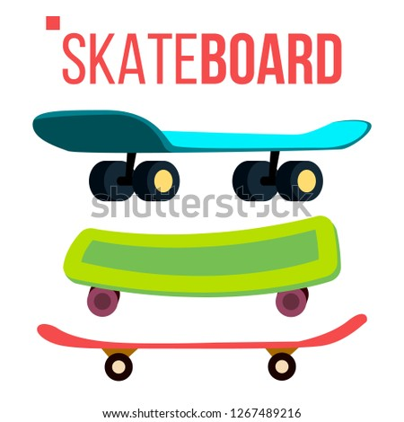 Scateboard Set Vector. Skate Park. Extreme Summer Activity. Isolated Cartoon Illustration Stock photo © pikepicture