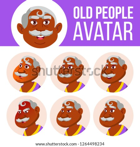 Indian oude man avatar ingesteld vector gezicht Stockfoto © pikepicture