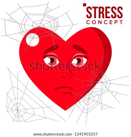 Heart Covered In Spiderweb Cobwebs, Stress Concept Vector. Isolated Cartoon Illustration Stock photo © pikepicture