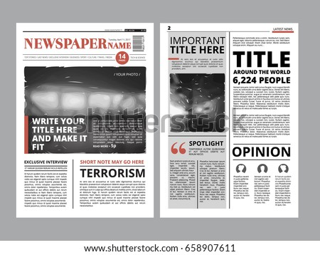 Newspaper Cover Set Vector. With Text Article Column Design. Technology And Business Article. Press  Stock photo © pikepicture