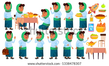 Arab, Muslim Girl Kid Poses Set Vector. Primary School Child. School Student. Graduation. For Banner Stock photo © pikepicture