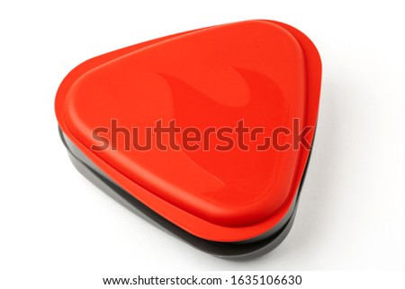 Red plastic tourist spoon and fork isolated on a white backgroun Stock photo © kayros