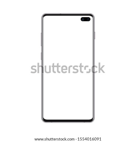 Stock photo: Realistic smartphone. New modern phone with camera cutout. Phone with abstract background.