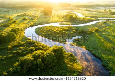 vert · paysage · lac · arbres · champs · arbre - photo stock © colematt