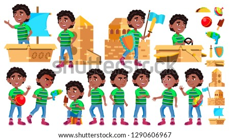 Black, Afro American Boy Kindergarten Kid Poses Set Vector. Character Playing. Childish. Casual Clot Stock photo © pikepicture