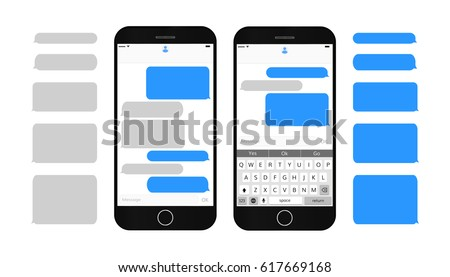 Interface social media. Short message service bubbles with place for text chat text boxes. Empty mes Stock photo © AisberG