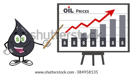 Greedy Petroleum Or Oil Drop Cartoon Character With Dollar Eyes Pointing To A Growth Graph For Oil P Stock photo © hittoon