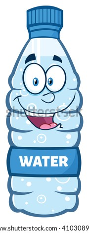cartoon illustration of a water plastic bottle mascot character holding and pointing to a blank bann stock photo © hittoon
