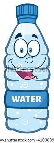 cartoon · water · plastic · fles · mascotte · karakter - stockfoto © hittoon