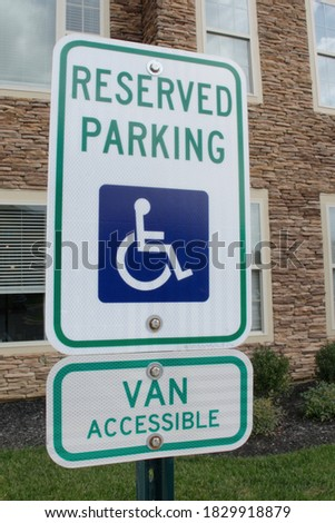 Wheelchair, handicapped or accessibility parking or access sign flat blue vector icon for apps and p Stock photo © kyryloff