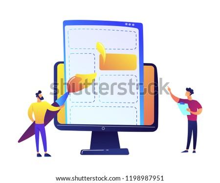 Dibujo web página elementos cepillo LCD Foto stock © RAStudio