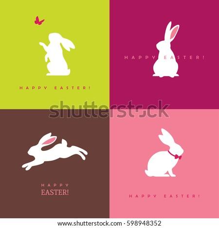 tavşanlar · paskalya · yumurtası · soyut · ayarlamak · siluetleri · tavşan - stok fotoğraf © giraffarte