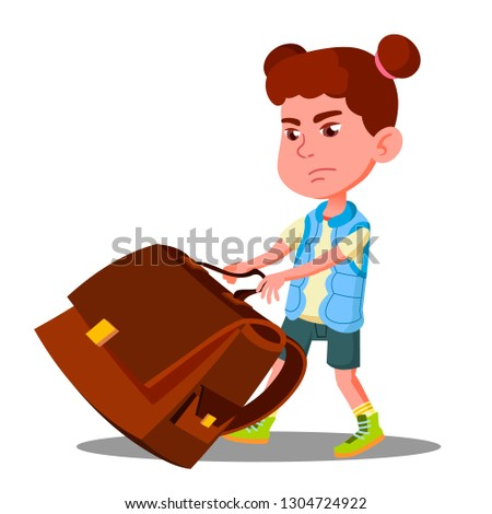 Child Girl With Effort Draging Along The Floor A Heavy School Backpack Vector. Isolated Illustration Stock photo © pikepicture