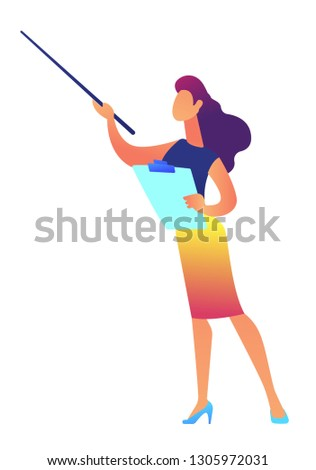 Businesswoman holding clipboard shows with pointer vector illustration. Stock photo © RAStudio