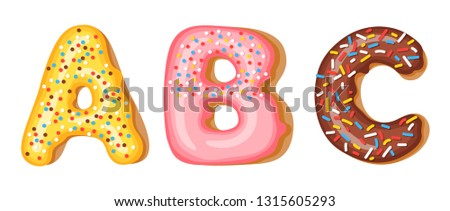 Donut icing upper latters - A, B, C. Font of donuts. Bakery sweet alphabet. Donut alphabet latters A Stock photo © MarySan