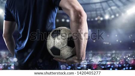 Piłkarz gotowy kopać stadion meczu Zdjęcia stock © alphaspirit