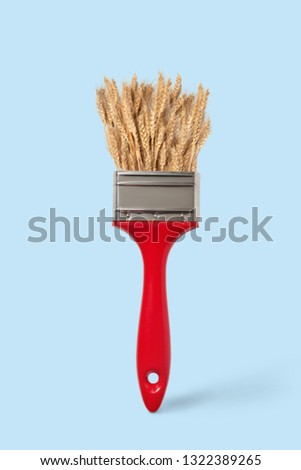 Natural ripe wheat on a red paint brush on a pastel blue background, copy space. Painting summer har Stock photo © artjazz