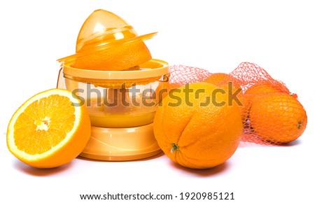 Manual juice squeezer for citrus fruits isolated on white background. Vector cartoon close-up illust Stock photo © Lady-Luck