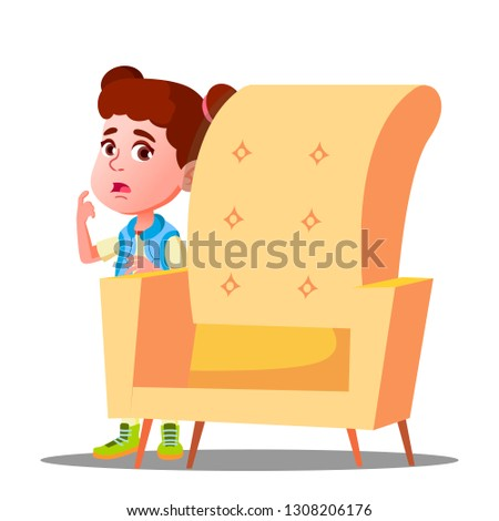 frightened little girl looks out from behind the armchair vector isolated illustration stock photo © pikepicture