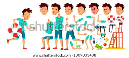 Asian Teen Boy Vector. Lifeguard On The Beach. Animation Creation Set. Face Emotions, Gestures. Cauc Stock photo © pikepicture