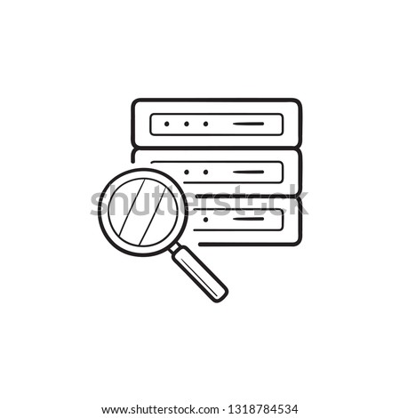 Analysing server with magnifier hand drawn outline doodle icon. Stock photo © RAStudio