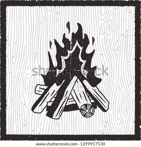 Camp fire hand drawn card. Vintage monochrome style with bonfire. Stock vector retro poster Stock photo © JeksonGraphics
