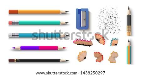 Ceruza szett irodaszer vektor fából készült valósághű Stock fotó © pikepicture